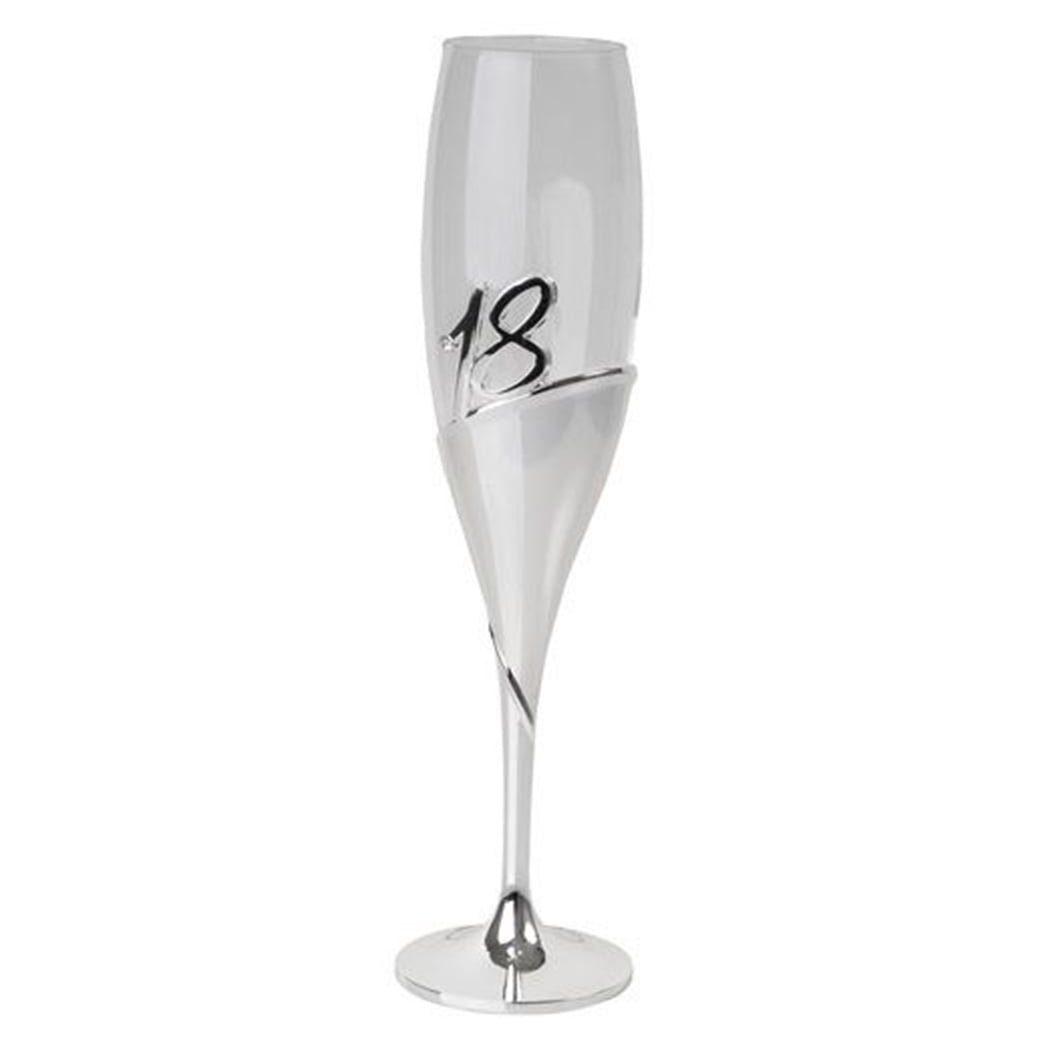 18th Silver and Glass Champagne Flute