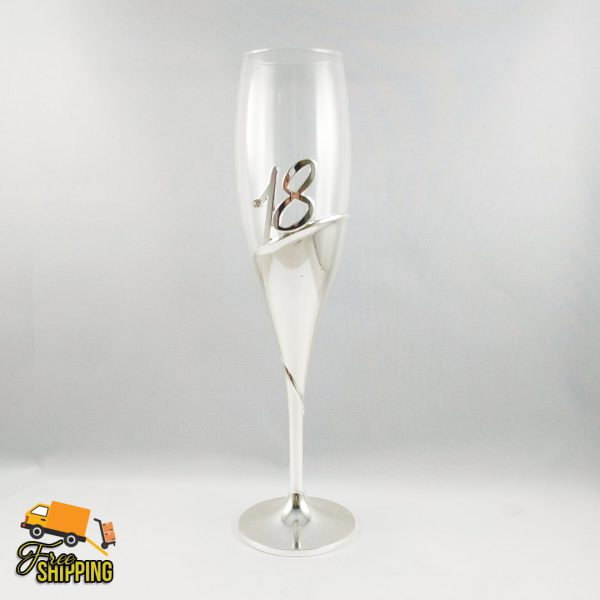 18th Silver and Glass Champagne Flute_grande
