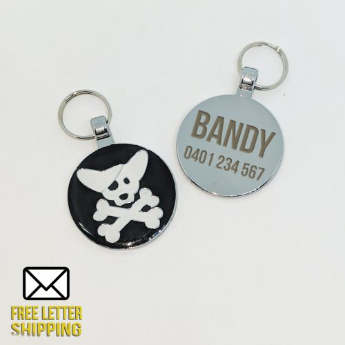 Pirate Chihuahua Laser Engraved Pet Tag