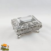 Small Floral Design 3.5' Silver Plated Jewellery Box