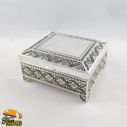 """Square Leaf Silver Plated 4"""" Jewellery Box"""