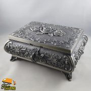Extra Large Queen Anne Pewter Jewellery Box