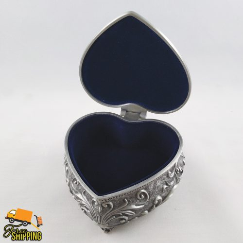 Decorative Heart Pewter Jewellery Box