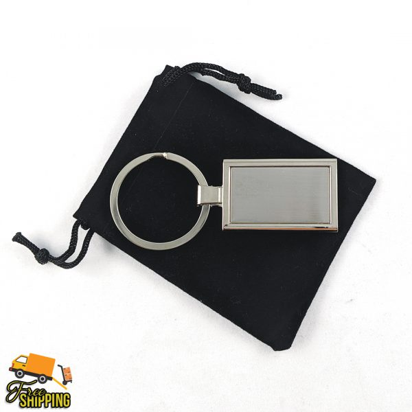 Rectangle Engravable Stainless Steel Keyring