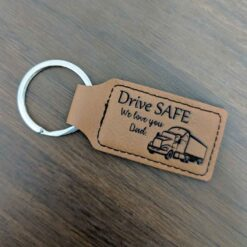 Drive Safe Dad Leather Key Ring
