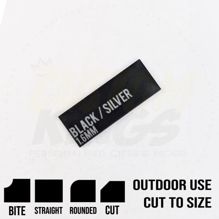 Black with Silver Writing 1.6mm Material 1
