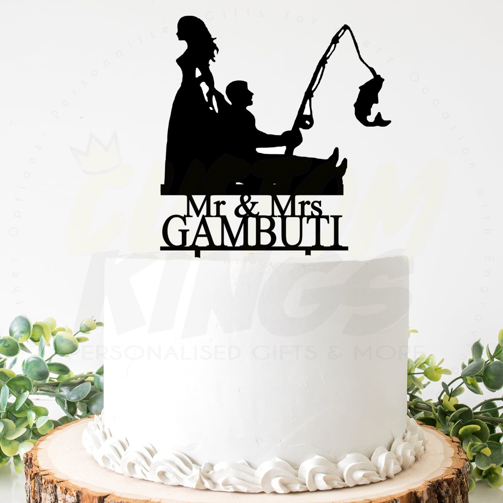 Personalised Fishing Cake Topper Male Birthday Cake Topper