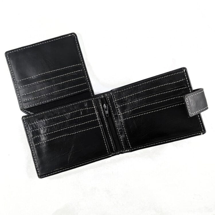 Engraved Black Genuine Slim Leather Wallet with RFID Blocking 1
