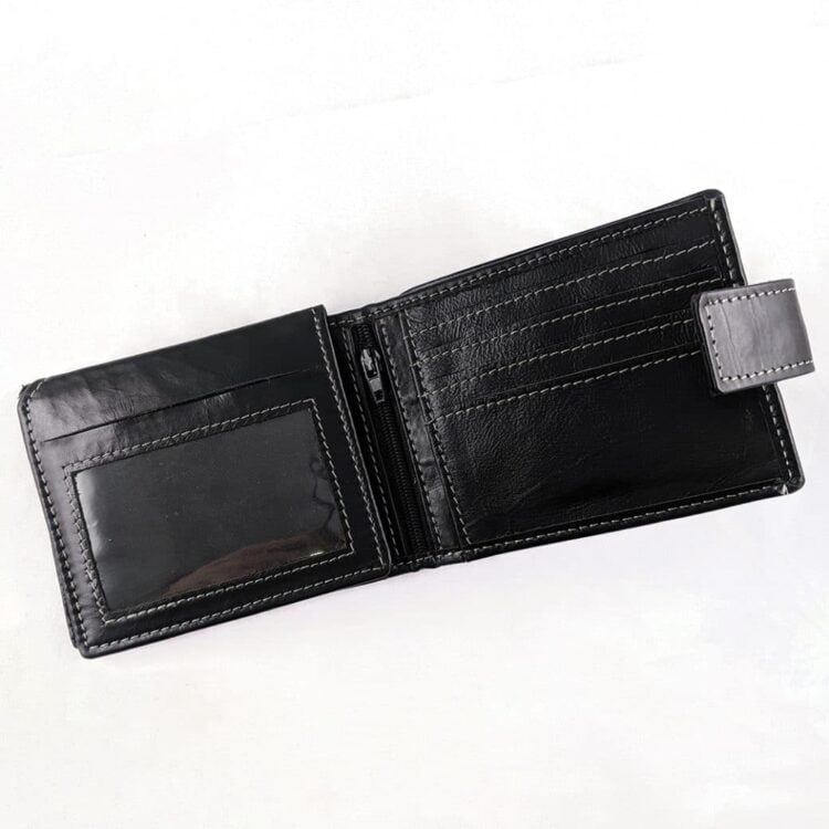 Engraved Black Genuine Slim Leather Wallet with RFID Blocking 3