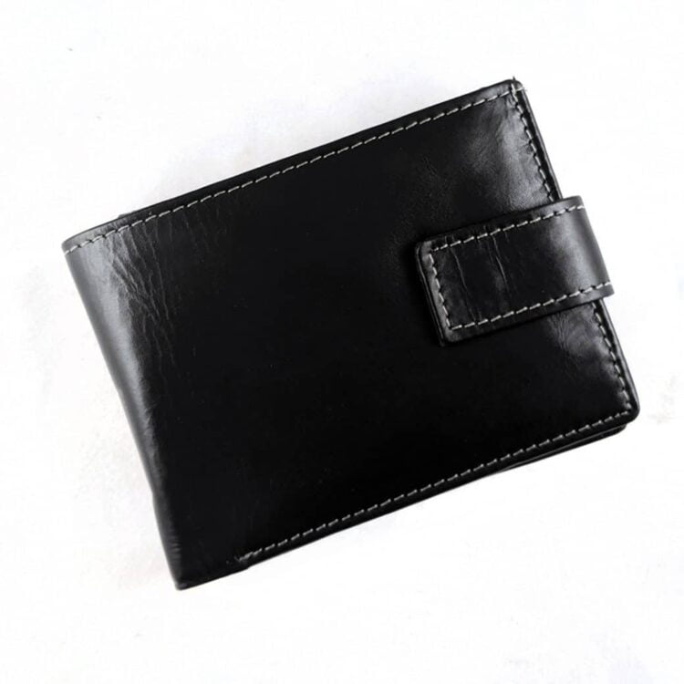 Engraved Black Genuine Slim Leather Wallet with RFID Blocking 2