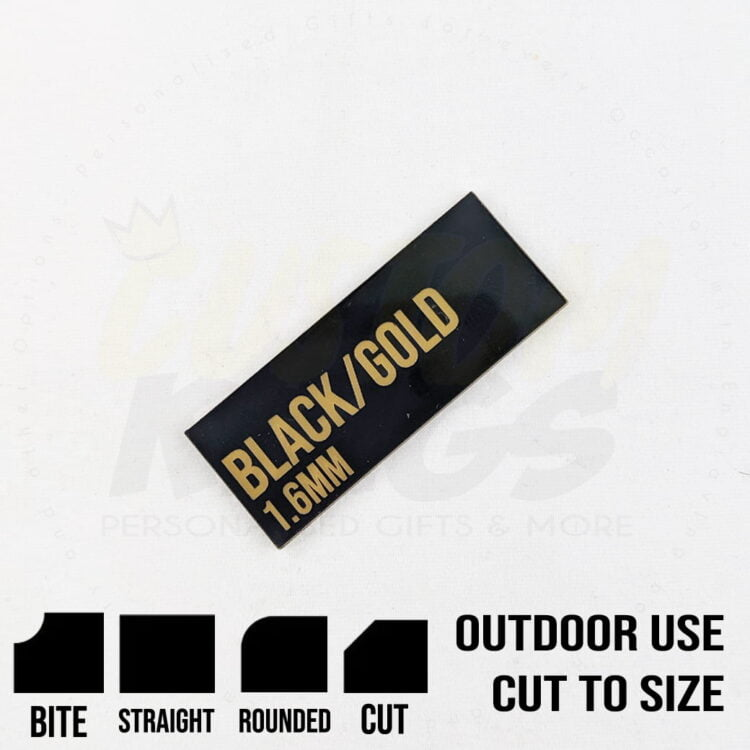Black with Gold Writing 1.6mm Material 1