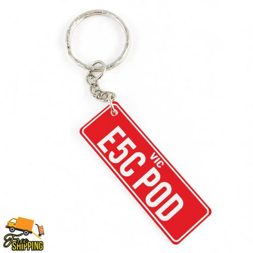 PlateIt© Red and White Licence Plate Key Chain