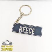 PlateIt© Space Grey and White Licence Plate Key Chain