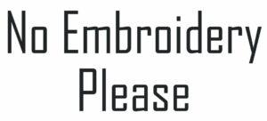 No Emboirdery