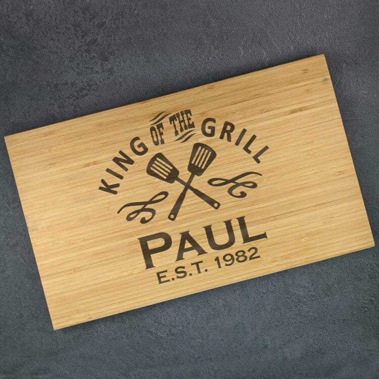 Personalised Bamboo Chopping Board: King of the Grill 1