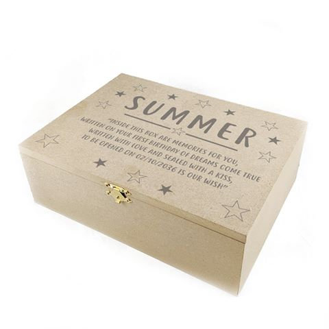 Keepsake Timber Box Stars design 1