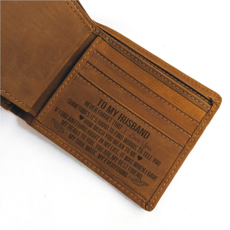 For my Husband Coffee Genuine Leather Wallet 1