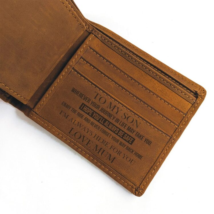 To my Son Love Mum Coffee Genuine Leather Wallet 1