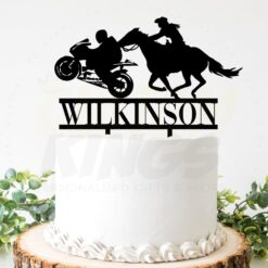 Cowgirl and Motorbike Rider Cake Topper