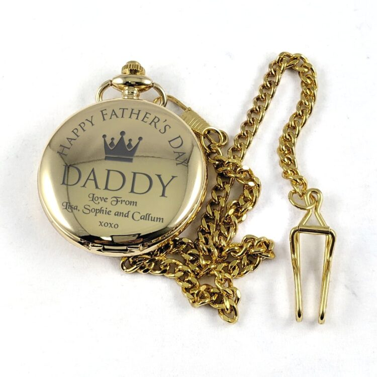 Father's Day Gold Stainless Steel Pocket Watch 1