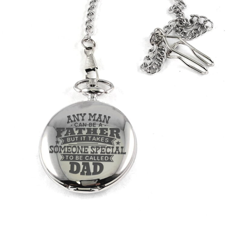 Father's Day Silver Stainless Steel Pocket Watch 1