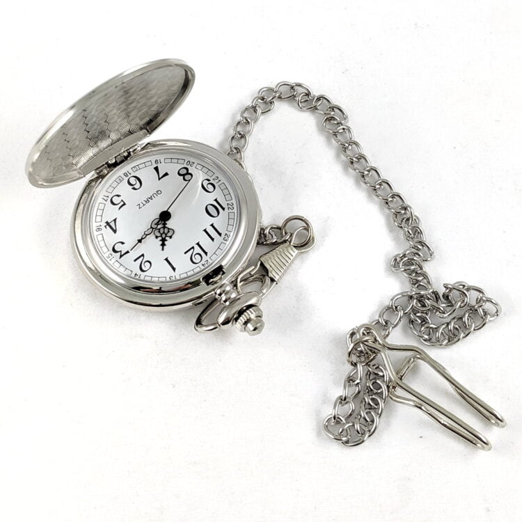 Father's Day Silver Stainless Steel Pocket Watch 2