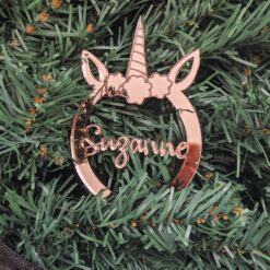 Rose Gold Unicorn Ornament