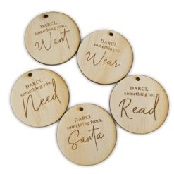 Want, Read, Wear, Need & Santa Gift Tags
