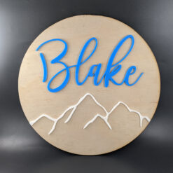 Kids Personalised Wall Plaque with Mountains - DecorIt© Range