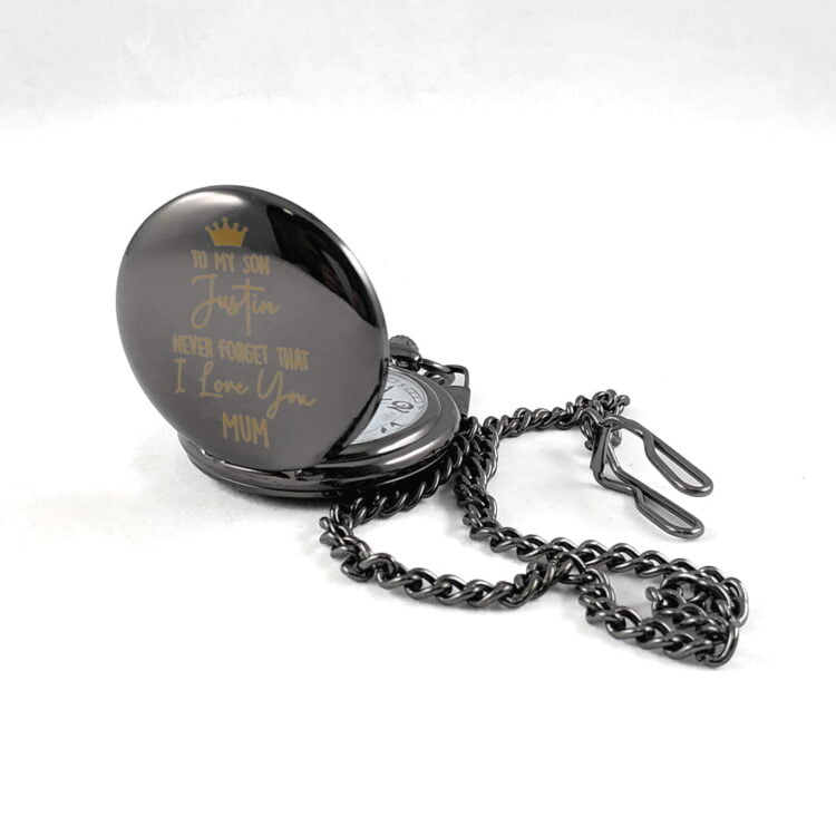 To My Son Black Stainless Steel Pocket Watch 2