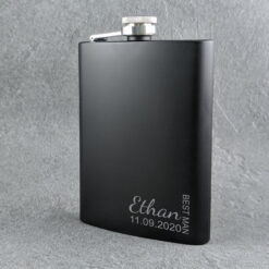 Modern Wedding Black Flask