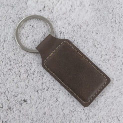 ersonalised Leatherette Rectangle Keychain Rustic with Gold engraving