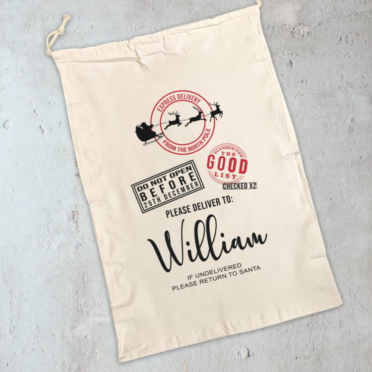Personalised Christmas Sack: Santa Express Delivery Design 1