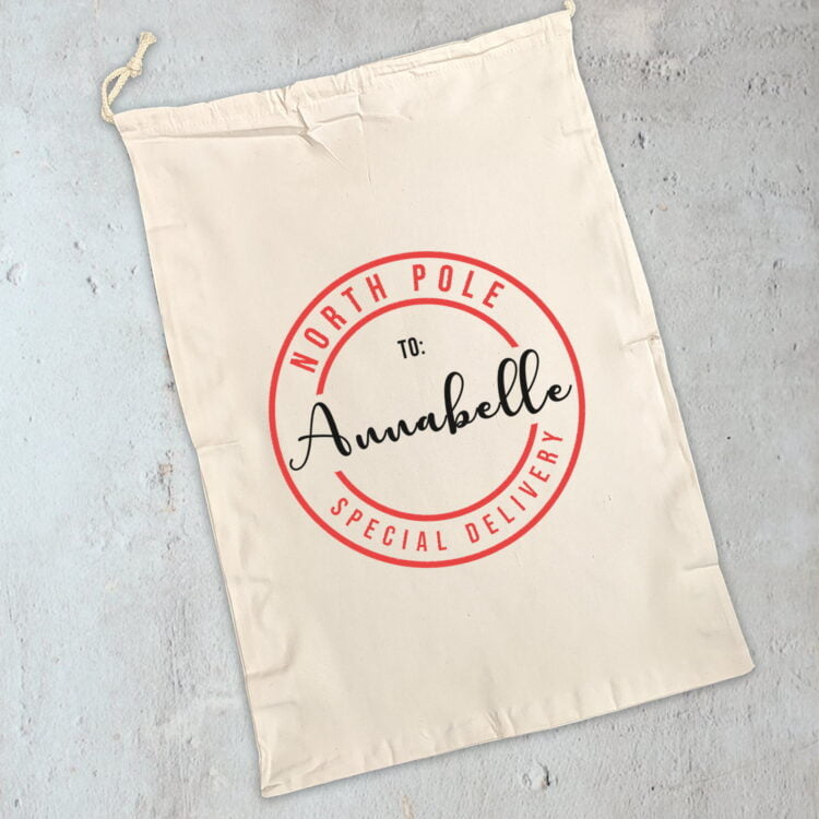 Personalised Christmas Sack: Special Delivery Design 1