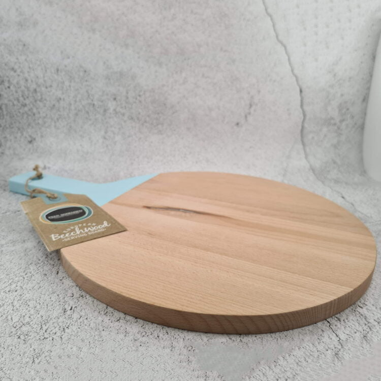 Engraved Round Paddle Serving board w/ Duck Egg Blue Handle: Design your own 2