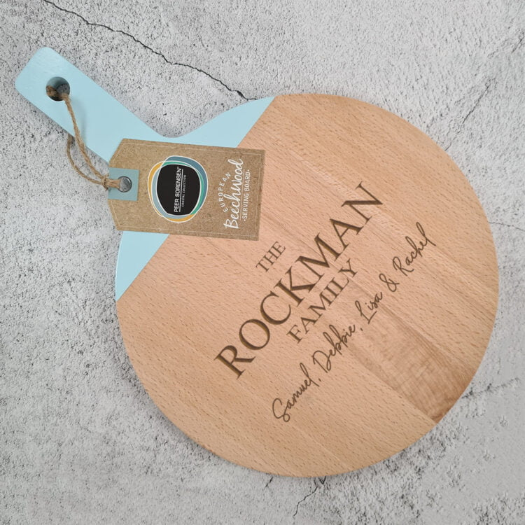 Engraved Round Paddle Serving board w/ Duck Egg Blue Handle: Design your own 1