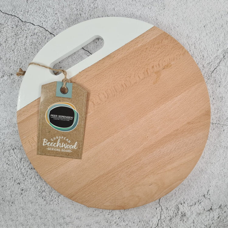 Engraved Round Serving board w/ White Handle: Design your own 3
