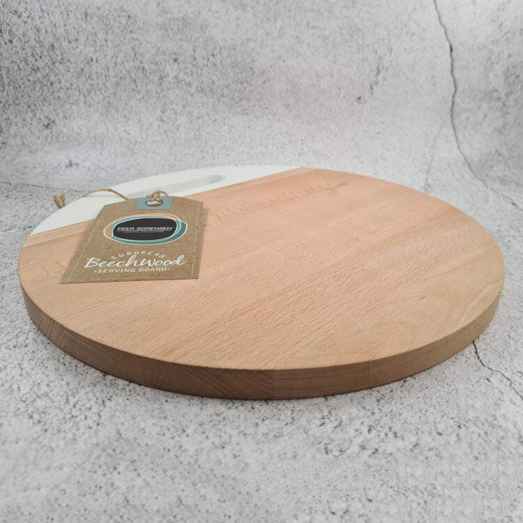 Engraved Round Serving board w/ White Handle: Design your own 2