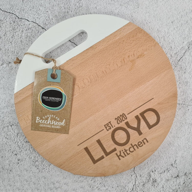 Engraved Round Serving board w/ White Handle: Design your own 1