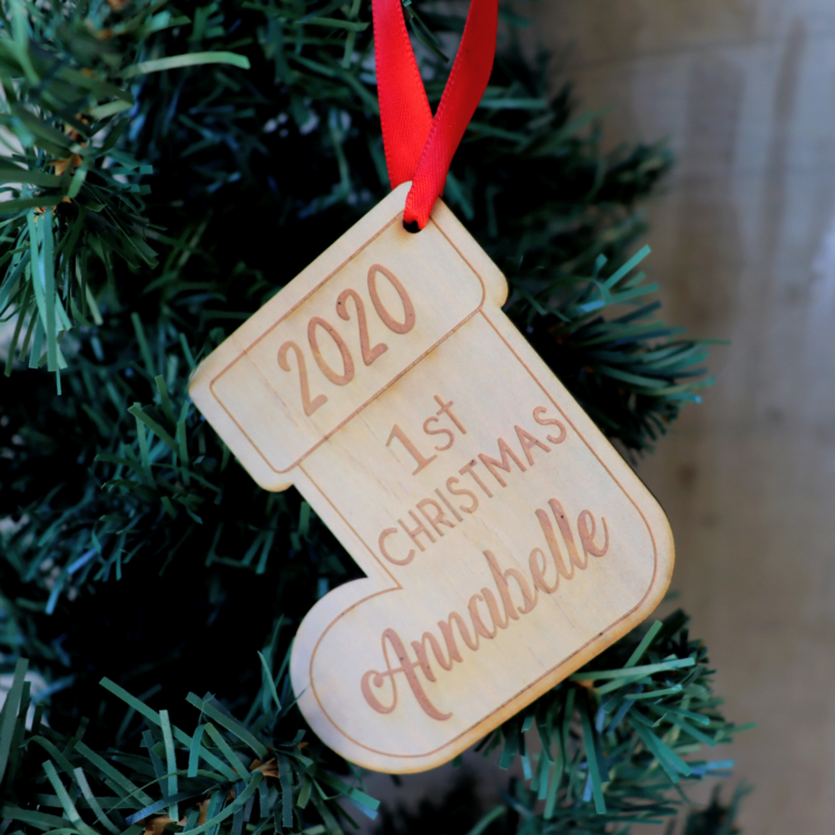 Personalised First Christmas Stocking Ornament 1