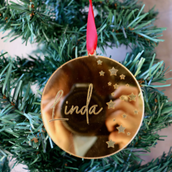 Round Mirrored Personalised Ornament with Stars