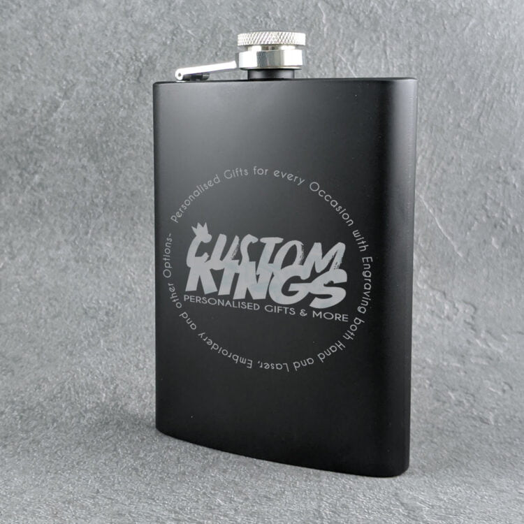 Corporate Matte Black 8oz Flask with Logo 1
