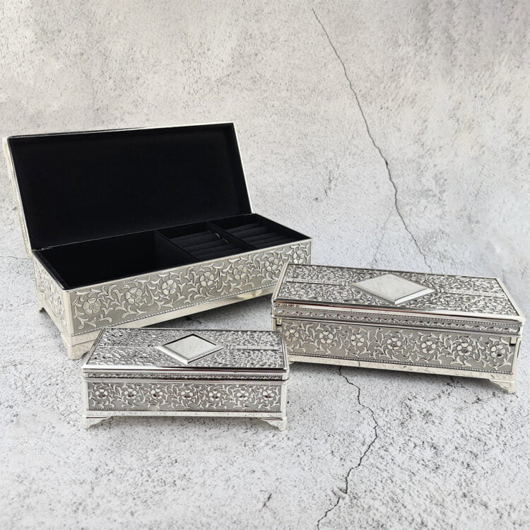 Jewellery Box Silver Rectangle Choose from 3 sizes 1
