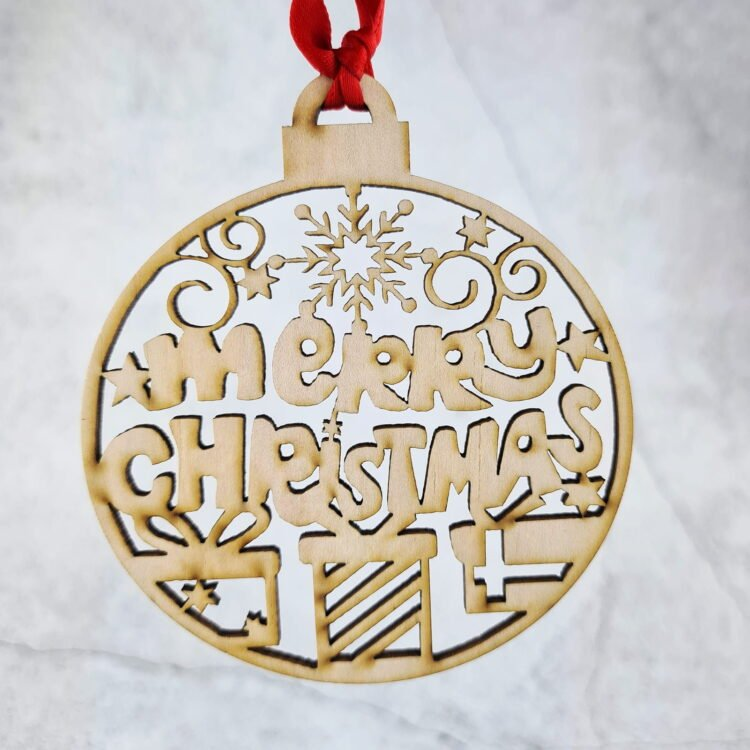 Laser Cut Merry Christmas Ornament 1