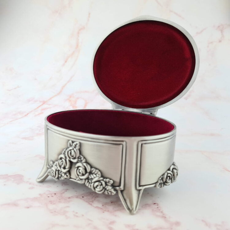 Oval Pewter Jewellery Box 2