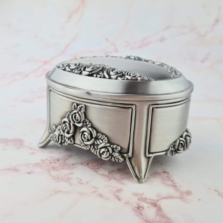 Oval Pewter Jewellery Box 1