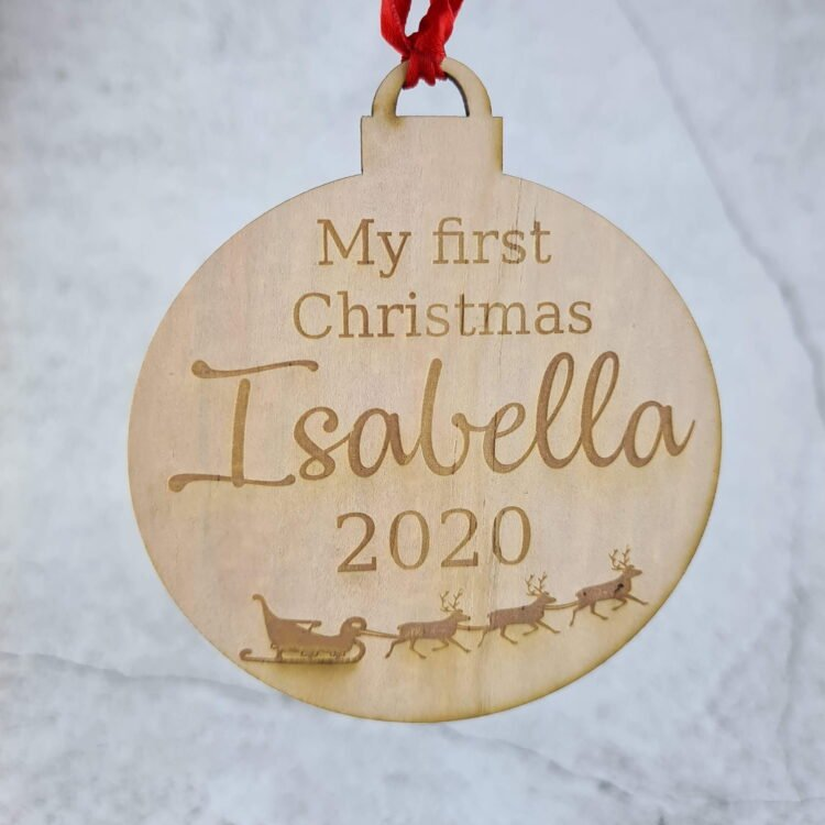 Personalised First Christmas Santa Sleigh Ornament 1