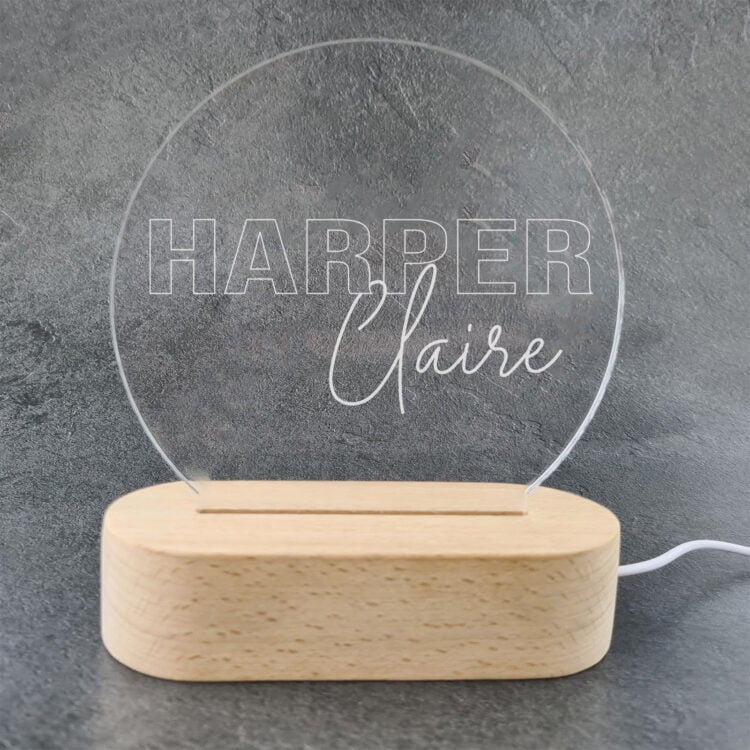 Personalised LED Light with Wooden Base 3