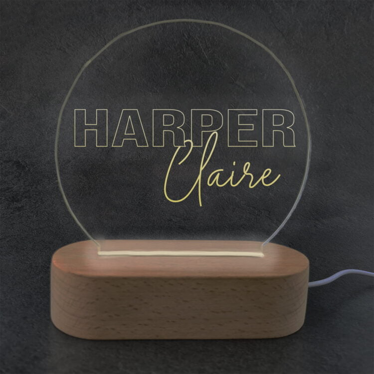 Personalised LED Light with Wooden Base 2