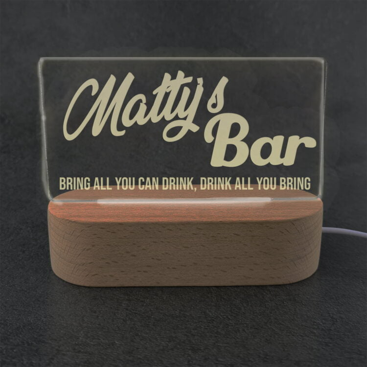 Personalised Bar Sign LED Light with Wooden Base 2